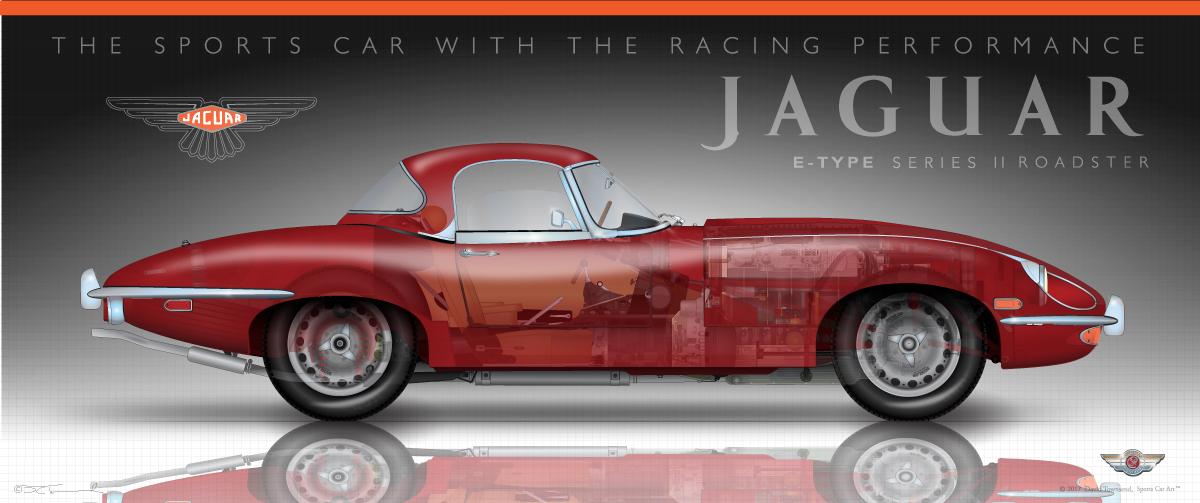 Jaguar E Type >> Jaguar E Type Series 2 Sports Car Art