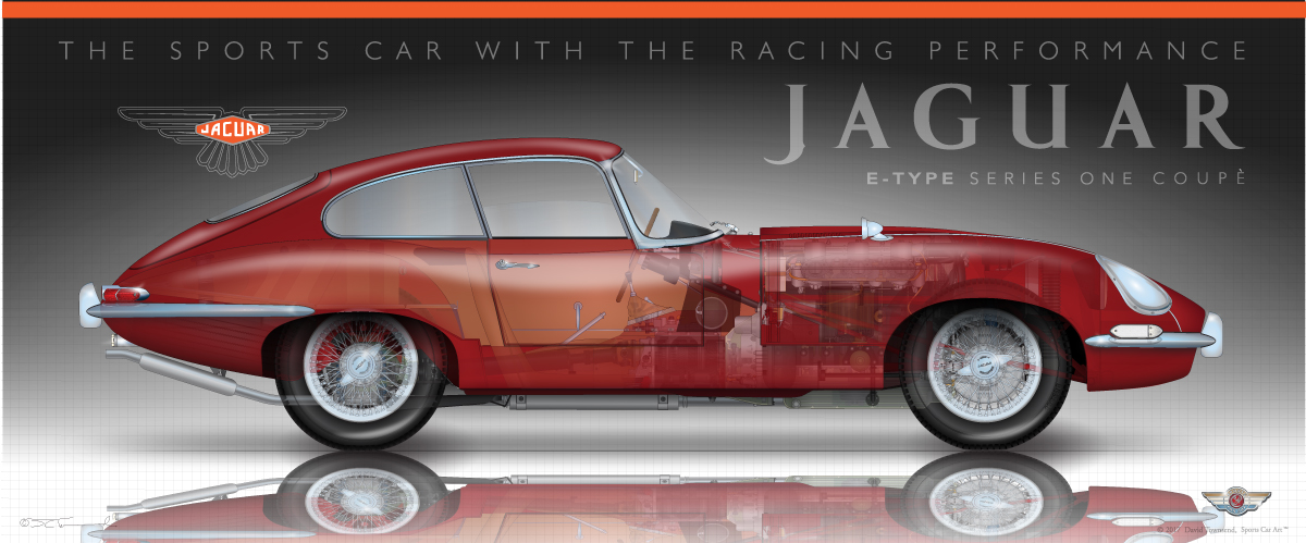 "JAGUAR XKE E TYPE RED SPORTS CAR ART POSTER PRINT 18"" x 24/"" Giclee"