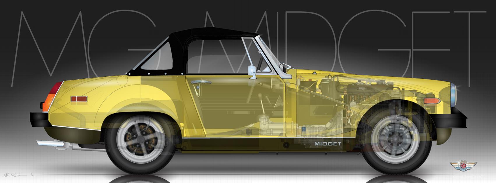 mg midget 1500 sports car art. Black Bedroom Furniture Sets. Home Design Ideas
