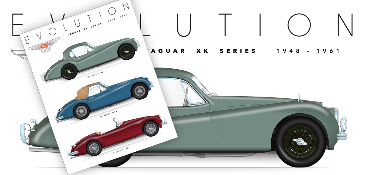 Jaguar Xk Evolution Print Sports Car Art