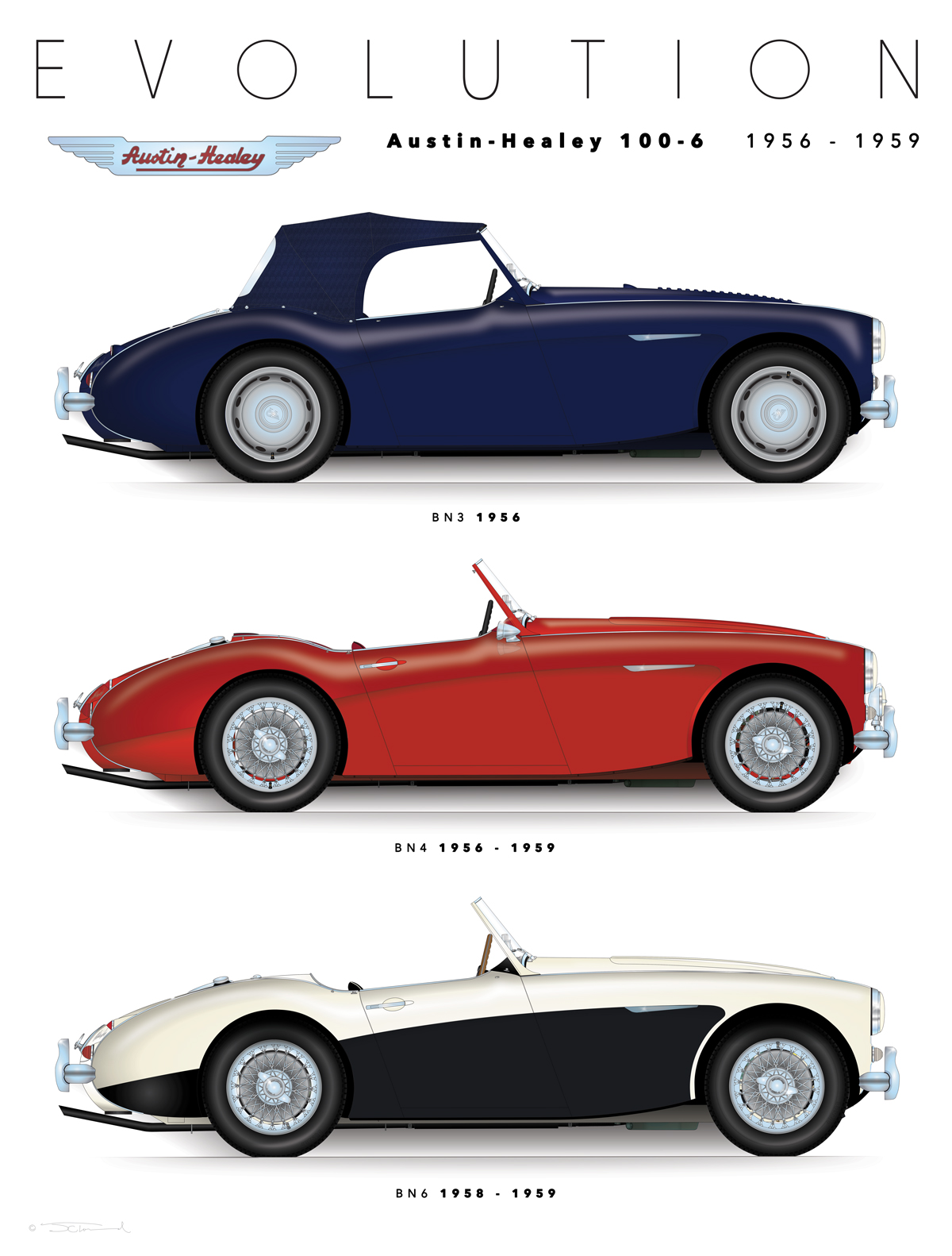 Austin Healey 100 6 Evolution Display Sports Car Art